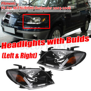 Pair Front Headlight Head Lamp Assembly Replaces For Mitsubishi Outlander 03 05