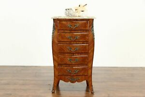 Louis Xv Design Antique French Lingerie Chest Or Nightstand Marble Top 35823