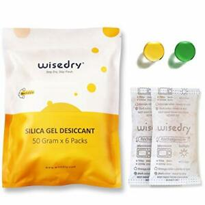 Wisedry 50 Gram 6packs Rechargeable Silica Gel Desiccant Packets Fast React