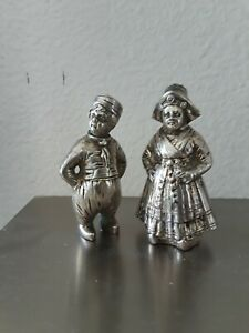 Pair Of Real Antique German Solid Silver Salt And Pepper