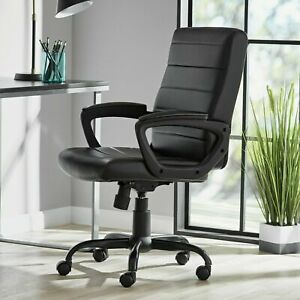 Bonded Leather Mid back Manager s Office Chair Black