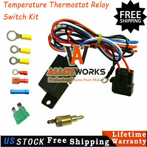 Electric Radiator Engine Fan Temperature Thermostat Relay Switch Kit
