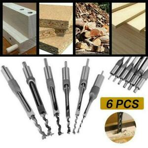 6pcs Woodworking Drills Square Hole Saw Auger Drill Bit Mortising Chisel Tools