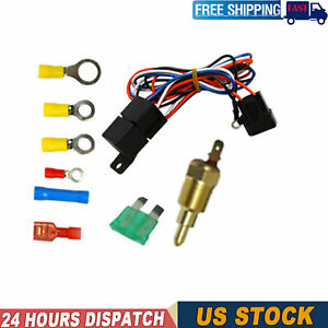 Electric Radiator Relay Fan Thermostat Switch Wiring Kit Sensor Temperature 3 8