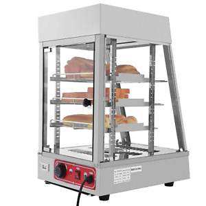 Commercial Food Warmer Court Heat Food Pizza Display Warmer Cabinet 15 Silver