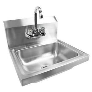 17 Commercial Stainless Steel Wall Mount Kitchen Hand Sink With Faucet Silver