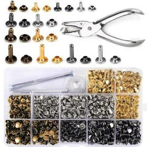 480 Sets Leather Rivets Double Cap Tubular Metal Studs With Setting Tool Pliers