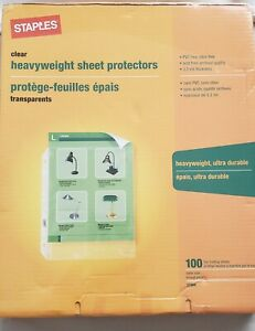 Staples Heavy duty Sheet Protectors Box Of 100 Clear 8 5x11 ultra Durable 31866