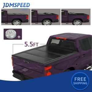 5 5ft Bed Hard 3 Fold Tonneau Cover For 2007 2021 Toyota Tundra Crew Max