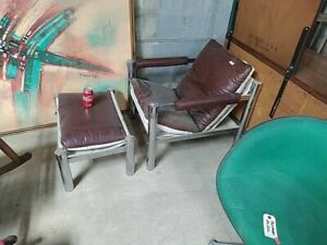 Midcentury Modern Style Lounge Chair Chrome Mcm Lounge Chair W Footrest