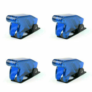 4pcs Toggle Switch Boot Plastic Safety Flip Cover Cap 12mm Clear Blue Ca