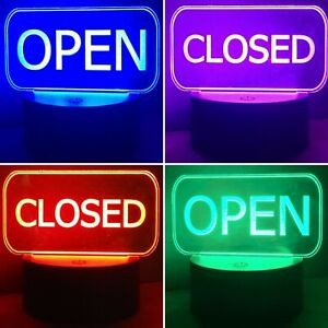 Interchangeable Open Closed Lighted Led Signs With 1 Remote 1 Base And Usb Cord