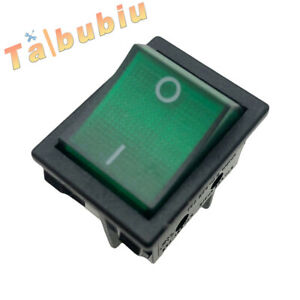 6 Pin Canal R Series Rocker Switch Green Double Pole 20a 16a 125v 250v
