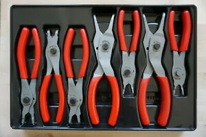 Snap On 7 Pc Retaining Ring Pliers Set Red Srpc107a