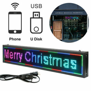 Led Sign 40x8inch Outdoor Scroll Message Board 7 Color Programmable Scrolling Us