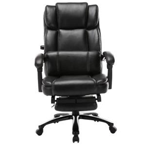 27 2 In Width Big And Tall Black Bonded Leather Executive Chair With Adjustable