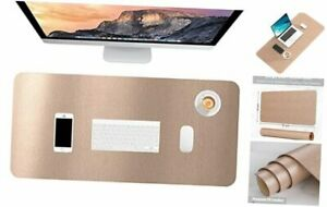 Desk Pad 30 X 14 Pu Leather Desk Mat Xl Extended Mouse Pad Gold