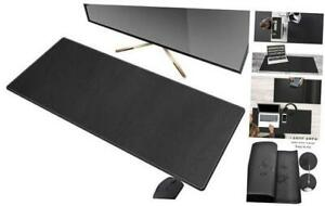 Artificial Leather Desk Mat Pad Blotter Protector 90x40cm Extended Non Black