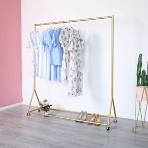 Gold Clothing Rack Boutique Display Clothes Rack With Wheels Modern Garment L