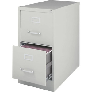 15 In X 26 1 2 In X 28 3 8 In Light Gray Vertical File Cabinet With 2 drawers