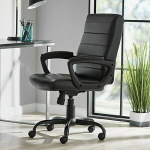 Mainstays Bonded Leather Mid back Manager s Office Chair Black New