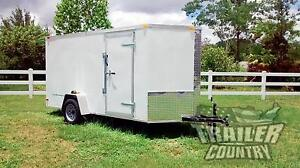 New 2021 6 X 12 V nosed Enclosed Cargo Motorcycle Trailer W ramp Side Doors