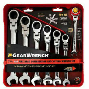New Gearwrench 7 Pc Sae Inch Flex Head Combination Ratcheting Wrench Set 9700