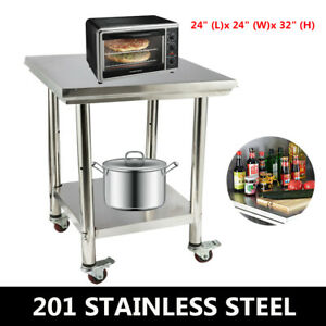 24 x24 Stainless Steel Kitchen Table Workbench For Prep Work W caster Wheels