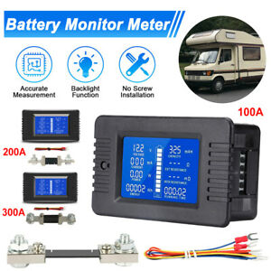 100 300a Dc Battery Monitor Meter Voltmeter Ammeter Cars Rv Solar Lcd Display Us