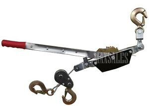 New 3 hook Come A Long 2 Ton 4000 Lb Winch Hoist Hand Cable Puller Durable Hd