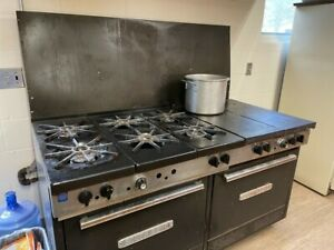 Working South Bend Gas Stove Six Burner Flattop Two Oven Stove