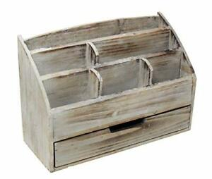 Executive Office Solutions Vintage Rustic Wooden Office Desk Organizer Mail