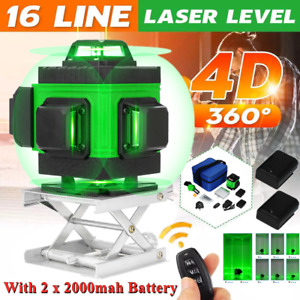 4d 360 16 Line Green Laser Level Auto Self Leveling Rotary Cross Measure Tool