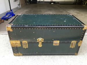 Vintage Taylor Fibre Co Antique Steamer Trunk Green Rare With Drawers