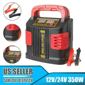 Heavy Duty Smart Car Battery Charger Pulse Repair 12v 24v 3 Stage Charging 350w