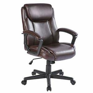 Computer Office Chair Spring Cushion Mid Back Executive Desk Chair With Brown