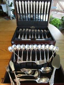 Perfect Wallace Rose Point Sterling Flatware Set S 12 Servers Chest 80p Mint