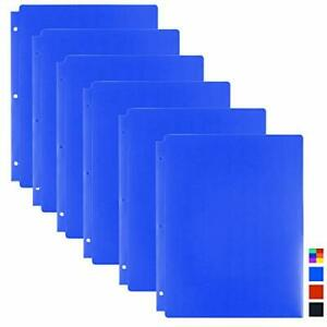 Dunwell Blue Plastic Binder Folders 6 Pack 3 hole Punched Poly Folders With