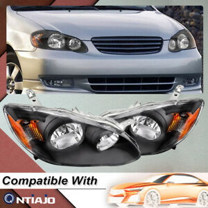 For 2003 2008 Toyota Corolla Black Housing Replacement Headlights Lamps Pair
