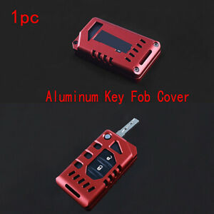 1x Red Aluminum Key Fob Cover Protection For 18 21 Jeep Wrangler Jl Gladiator Jt