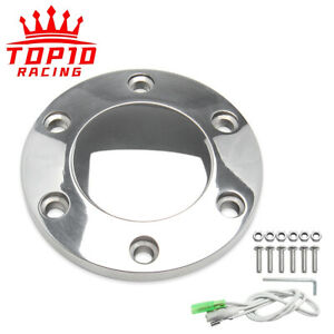 Polished Billet 6 Holes Aluminum Steering Wheel Horn Button Kit With Bolts