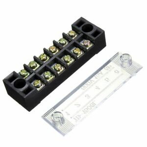600v 15a 6 Position Double Row Wire Barrier Block Screw Terminal Strip Panel