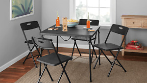 5 Piece Resin Plastic Card Table And Four Chairs Set Black