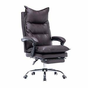 High Back Office Chair pu Leather Executive Desk Chair Adjustable Brown
