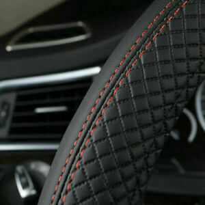 Car Steering Wheel Cover Pu Leather Good Grip For 15 38cm Accessories Black Red