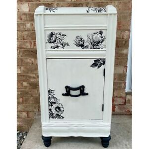 Antique Art Deco Waterfall Nightstand End Table Refurbished Shabby Chic Table