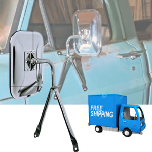 Universal Side Low Mount Truck And Van Mirror Replacement Part Full Size Chrome