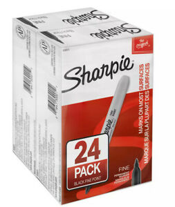 Sharpie Permanent Fine Tip Markers Black pack Of 24