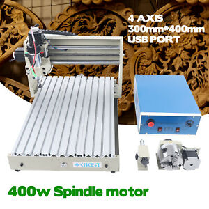 Usb 4 Axis 3040 Cnc Router Engraver 3d Cutter Carving Drill Milling Machine 400w