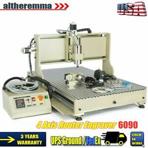 4 Axis Router 6090 Cnc Engraver Woodworking Milling Carving Machine 1 5kw Rc